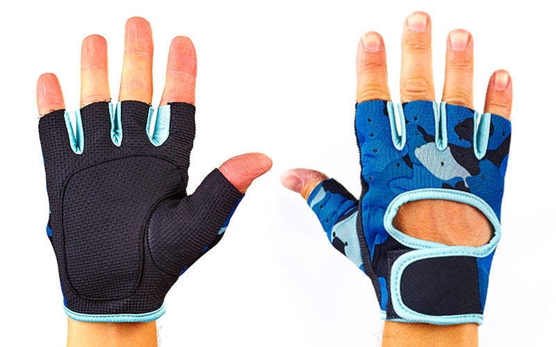 Рукавички спортивні для фітнеcу TKO ВС-894-B (неопрен, відкриті пальці, камуфляж синій-м'ятний)