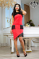 Стильное коралловое платье Джемма Luzana 44-50 размеры
