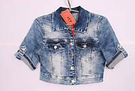 Женское джинсовое болеро с коротким рукавом голубое