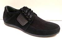 Мужские туфли Vankristi натуральная кожа/замша черные VK0002