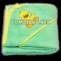 Детское махровое (петля нормальная) уголок-полотенце после купания 95х95 см ТМ Ярослав 1568 Салатовый