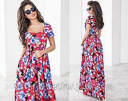Длинное летнее платье с цветами