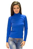 Водолазка (гольф) женская синяя с горлом стойка однотонная длинный рукав хб стрейч трикотажная (Украина)