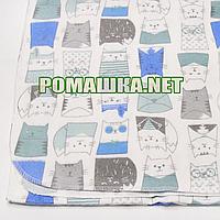 Белая детская фланелевая пелёнка 120х75 см (фланель, байковая, байка) теплая для пеленания 3307 Голубой