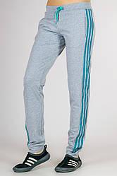 Спортивные штаны женские серые брюки с лампасами трикотажные на резинке (манжет) Украина