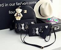 Рюкзак с котами в наборе с клатчем