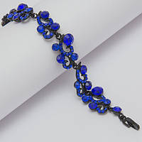 Браслет черный на замочке с синими камнями