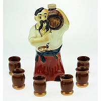 Коньячный набор Козак с бочкой, 7 предметов