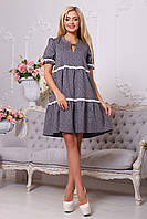 Молодежное Платье Свободного Фасона с Рюшами Серое S-XL