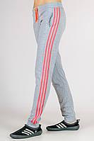 Спортивные штаны женские серые брюки с лампасами трикотажные на резинке (манжет) Украина 52