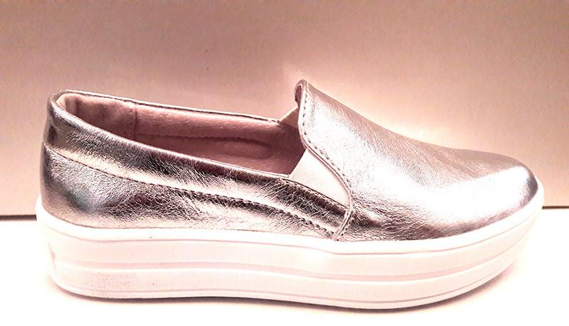 233b2c77a2b5 Слипоны женские Украина кожаные серебряные золотые Uk0031