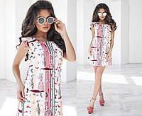 Короткое разноцветное летнее платье рукава-крылышки