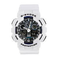 Часы CASIO G-Shock ga-100 White- Black (касио джи- шок белые) стильные - спортивные (Наручний годинник)