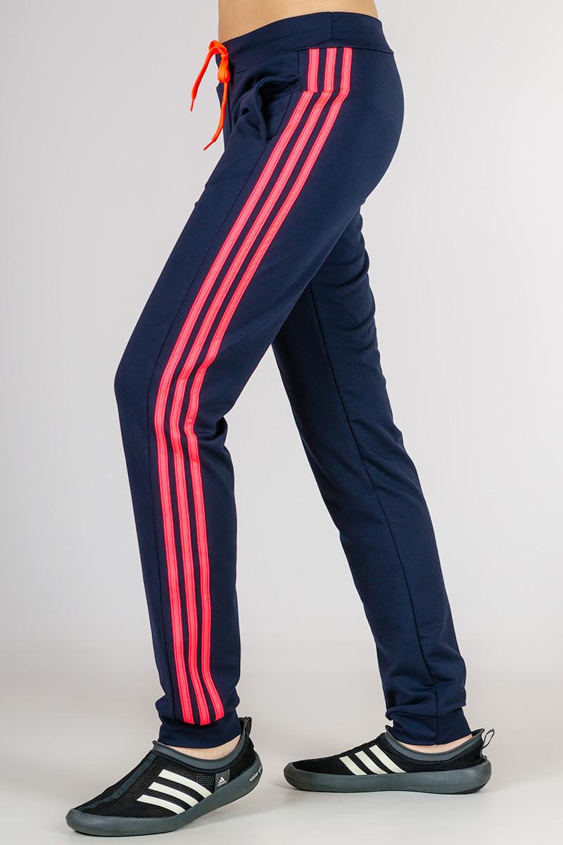 Спортивные штаны женские темно синие брюки с лампасами трикотажные на резинке (манжет) Украина