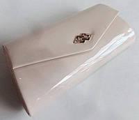 Женский клатч свадебный вечерний праздничный со стразами жемчужный  (25*13 см)
