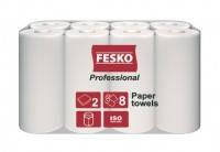 Полотенце бумажное белое 2слой 8рул FESKO Professional