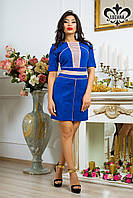 Теплое женское платье Вассаби электрик Luzana 44-52 размеры
