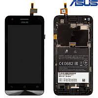 Дисплейный модуль (дисплей + сенсор) для Asus ZenFone C (ZC451CG), с рамкой, черный, оригинал