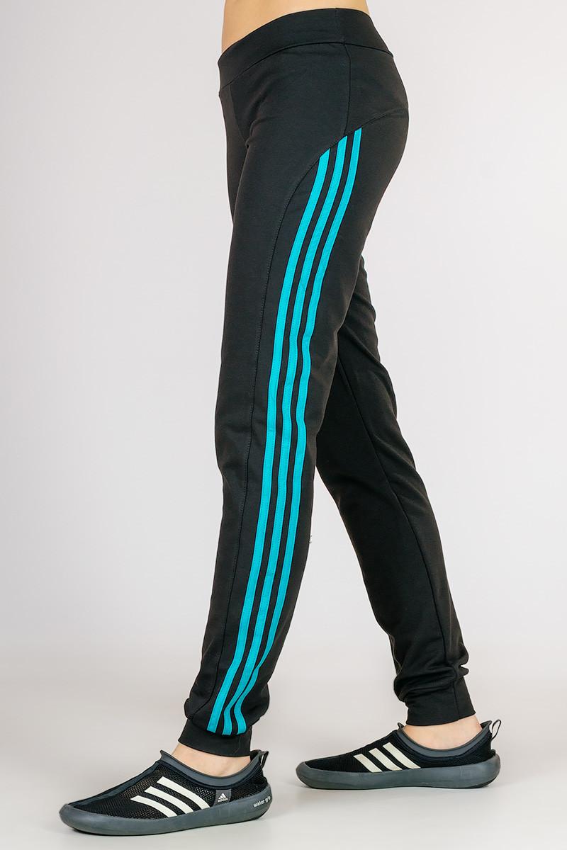 Черные спортивные брюки женские штаны с лампасами трикотажные на резинке (манжет) Украина