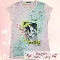 Лёгкая летняя футболка с гипюром для девочек от 10 до 15 лет (5146-2)