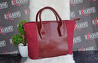 Стильная бордовая женская КОЖАНАЯ сумка.