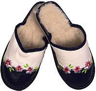 """Тапочки домашние женские кожаные """"Цветы"""" сине-бежевые"""