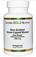 Новая Зеландия, Зеленые мидии плюс имбирь, 500 мг, 60 растительных капсул