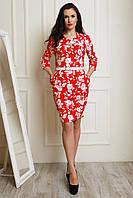 Красивое праздничное платье в белом цвете с красным принтом