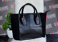 Стильная черная женская КОЖАНАЯ сумка.