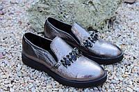 Женские туфельки с камушками натуральная кожа