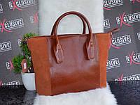 Стильная коричневая женская КОЖАНАЯ сумка.