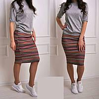 Юбочный стильный женский трикотажный костюм кофта и юбка до колен В20008, фото 1