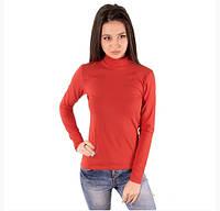 Красная водолазка (гольф) женская с горлом стойка длинный рукав хлопок стрейч трикотажная (Украина)