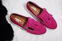 Женские туфли-лоферы от TroisRois из натуральной турецкой кожи с бахромой Розовый