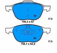 Оригинальные передние тормозные колодки Ford: Focus II-III, C-max, Kuga.
