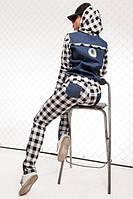 Модный спортивный костюм джинсовый вставки клетка (2 цвета)