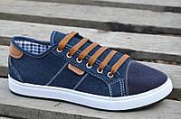 Кроссовки, мокасины, кеды мужские синие джинс Львов