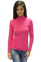 Водолазка (гольф) женская с горлом стойка цветная розовая длинный рукав хб стрейч трикотажная (Украина)