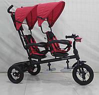 Трехколесный велосипед-коляска  двухместный для двойни Azimut Crosser TWINS М-300 AIR красный ***