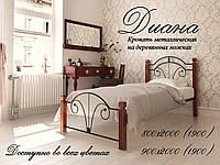 """Кровать металлическая """"Диана с деревянными опорами""""80х200(190)"""