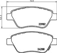 Оригинальные передние колодки FIAT Doblo(119), Doblo Cargo(223), Bravo(198)
