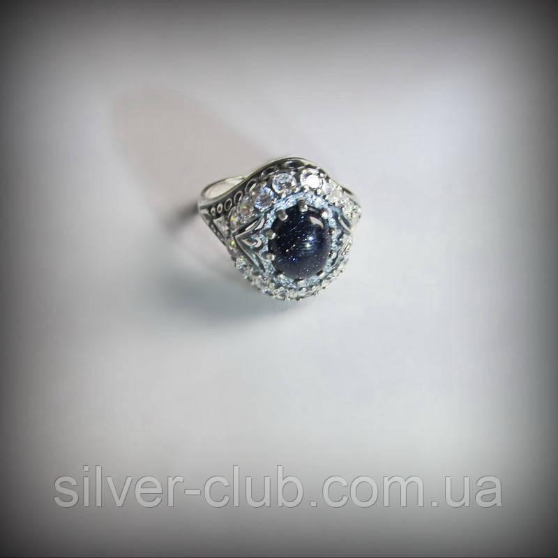 abbfe4f07d33 1013 Серебряное кольцо Чалма с черным авантюрином Ночь Каира 925 пробы -  Интернет-магазин серебряных