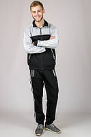 Серый спортивный костюм мужской трикотажный классический без капюшона Турция