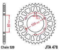 JTA478.42 Мотозвезда JT задняя под цепь 520 на 42 зуба алюминиевая KAWASAKI  ZX-7R Ninja
