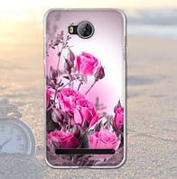 Оригинальный чехол панель накладка с принтом для Huawei Y3 II Розовые розы