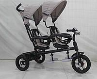 Трехколесный велосипед-коляска  двухместный для двойни Azimut Crosser TWINS М-300 AIR бежевый ***