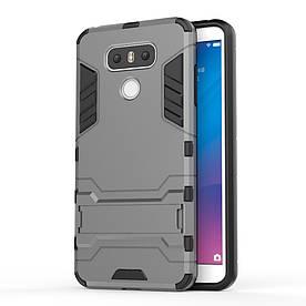 Чехол накладка для LG G6 H870 противоударный силиконовый с пластиком, Alien, серый