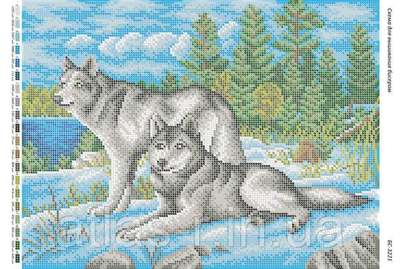 """Схема для часткової вишивки бісером """"Пара вовків"""""""