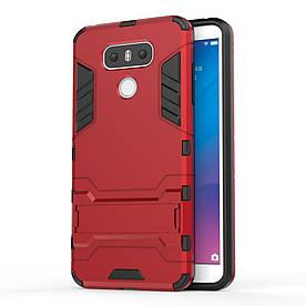 Чехол накладка для LG G6 H870 противоударный силиконовый с пластиком, Alien, красный