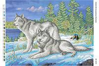 """Схема для частичной вышивки бисером """"Пара волков"""""""